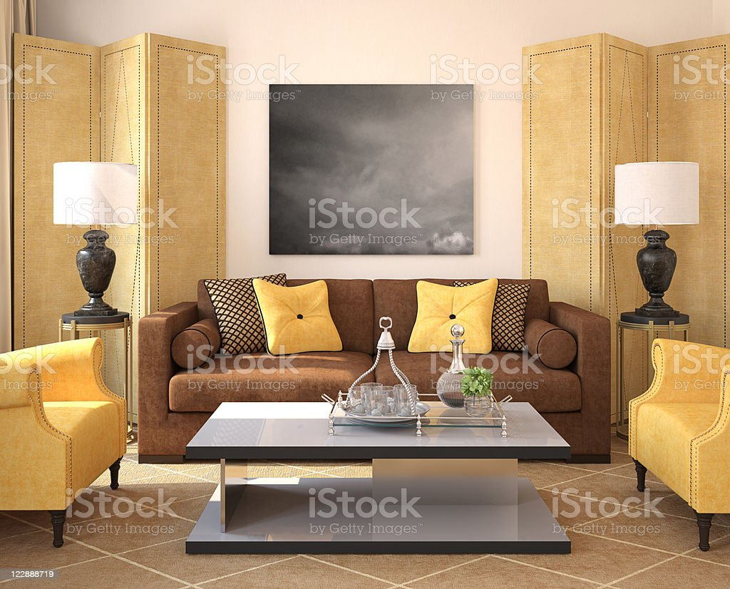 Modern living-room interior. royalty-free stock photo