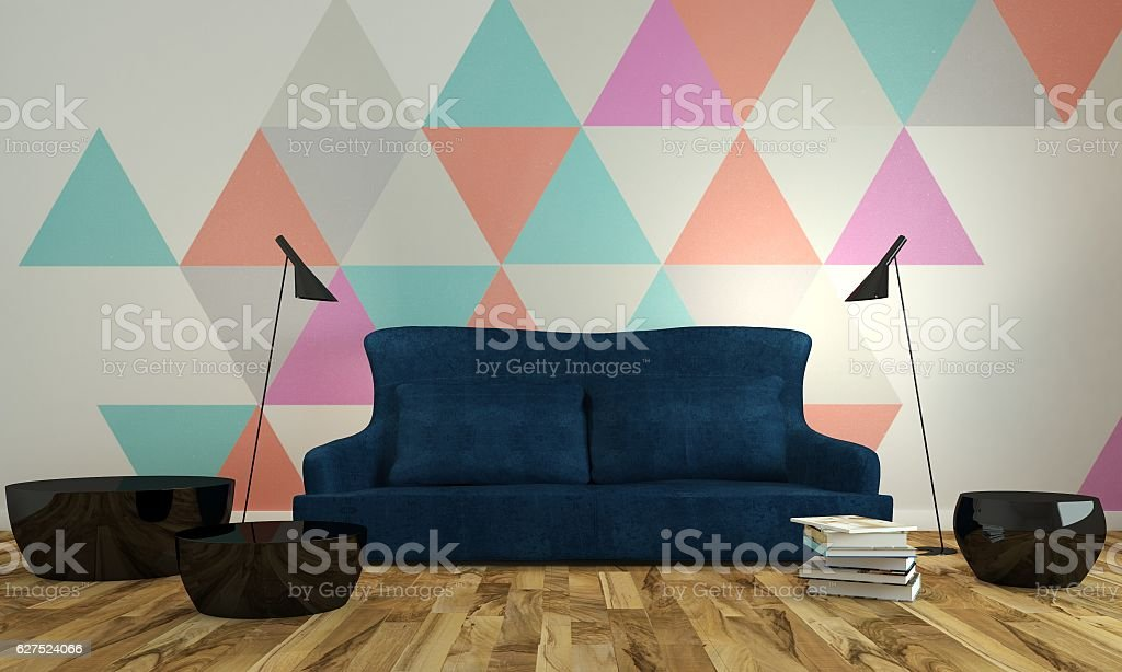 Modern Livingroom Interior With Blue Couch Near Colorful ...
