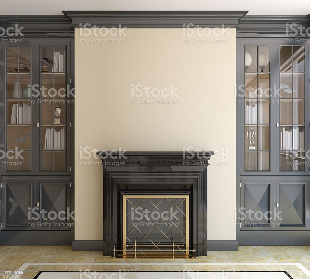 Modern Livingroom With Fireplace Stock Photo & More