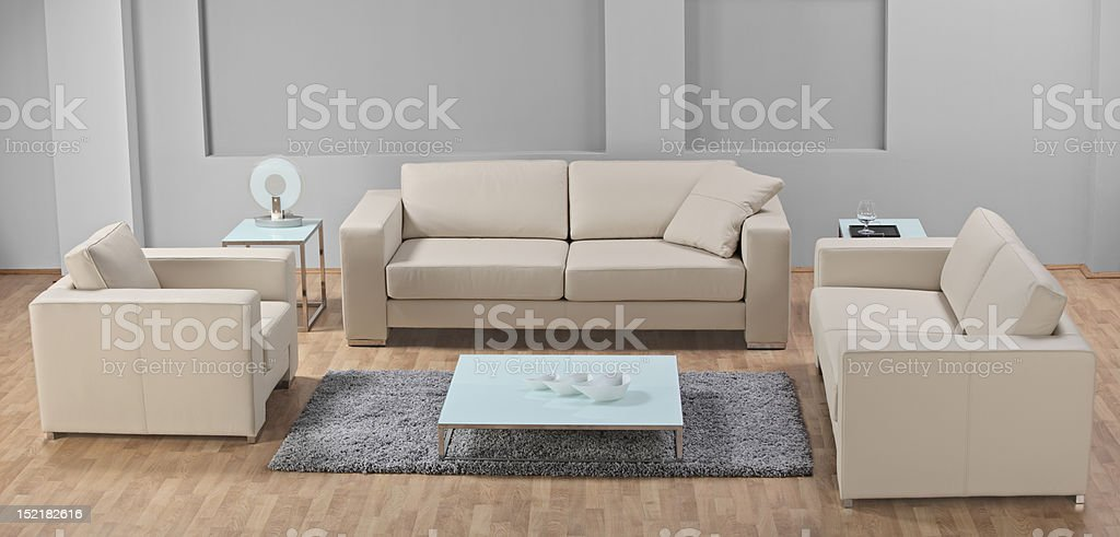 Modern living-room with leather furniture royalty-free stock photo