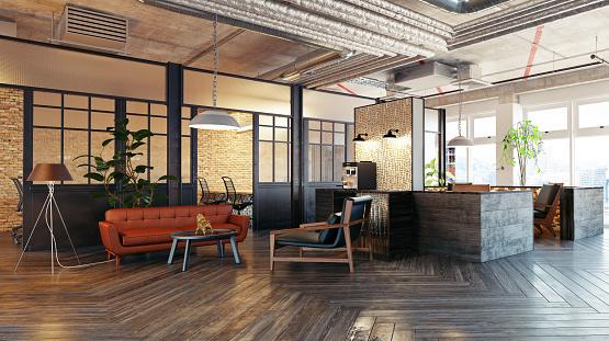 Foto de Interior Do Átrio Moderno e mais fotos de stock de Apartamento Tipo Loft