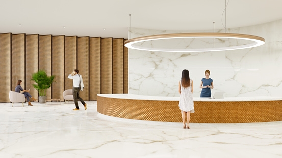 People in a modern office building lobby. All items in the scene are 3D