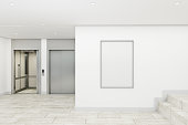 Modern office lobby interior with lifts and empty poster. Mock up, 3D Rendering