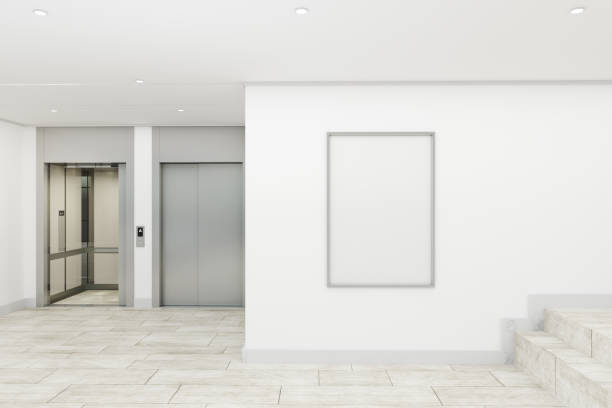 modern lobby with poster - lobby foto e immagini stock
