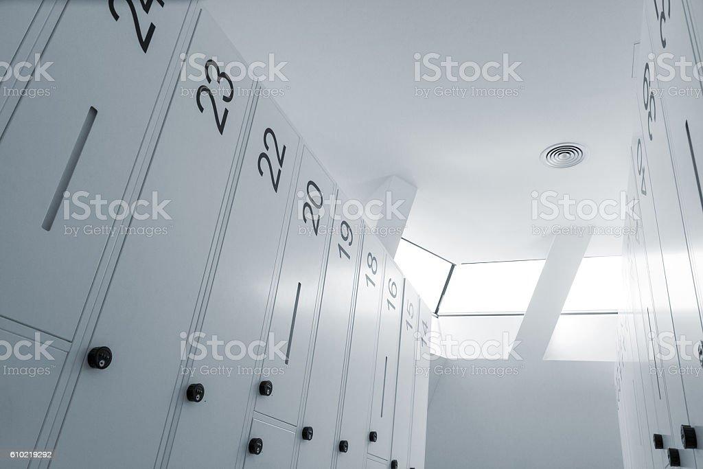 Modern locker room stock photo