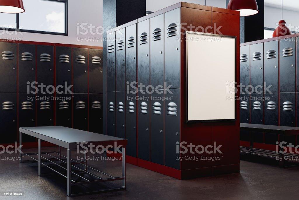 Moderno vestiário com moldura vazia - Foto de stock de Apartamento Tipo Loft royalty-free