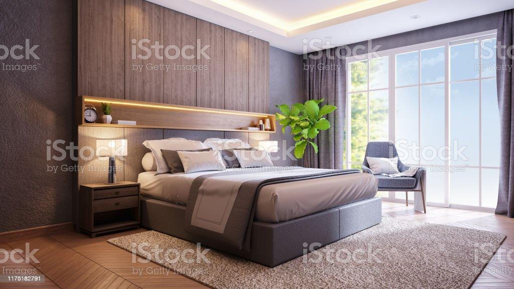 Modern Loft And Dark Bedroom Interior Design 3d Rendering Stock Photo Download Image Now Istock