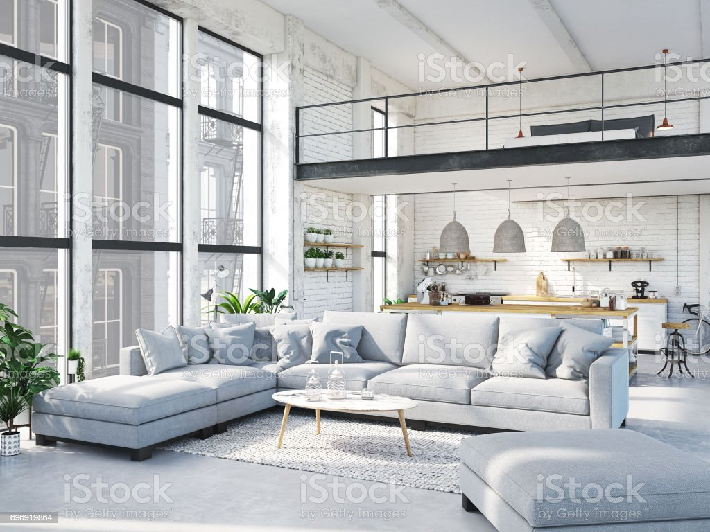 modern loft apartment. 3d rendering stock photo
