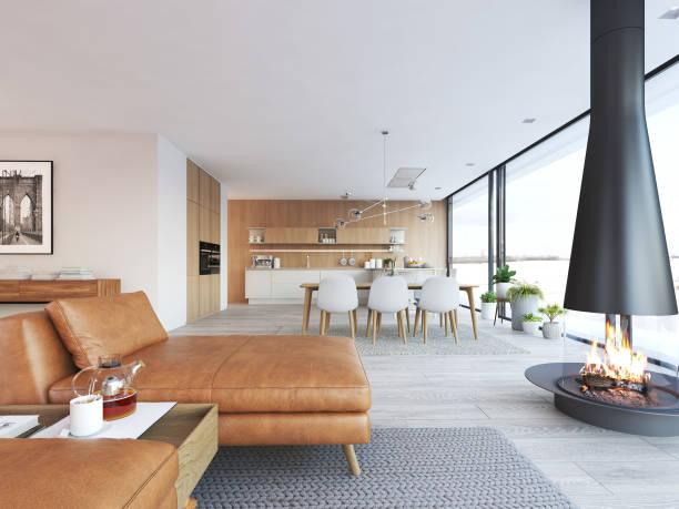 moderne loft-wohnung. 3d-rendering - kamin wohnzimmer stock-fotos und bilder