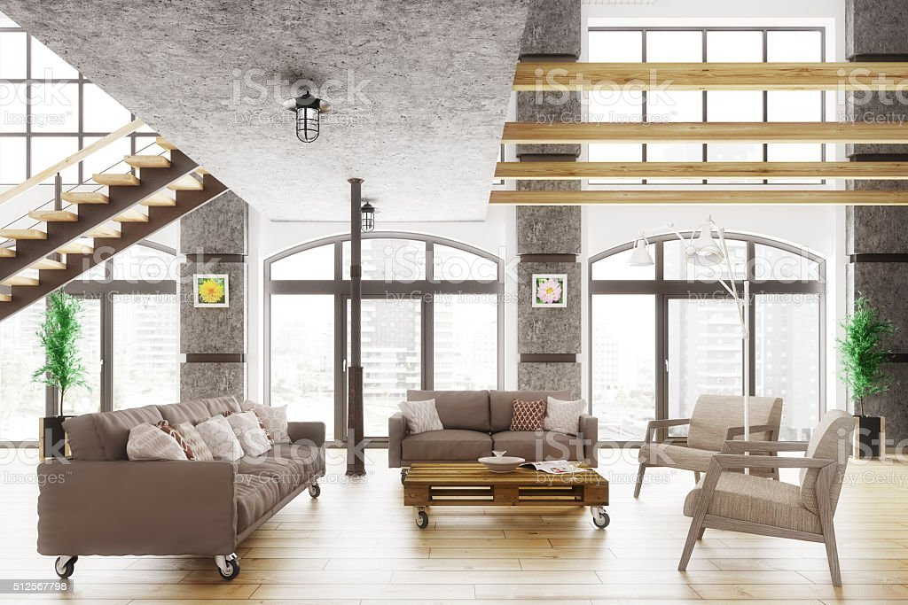 Appartamento loft interni moderni di render 3d for Interni moderni foto