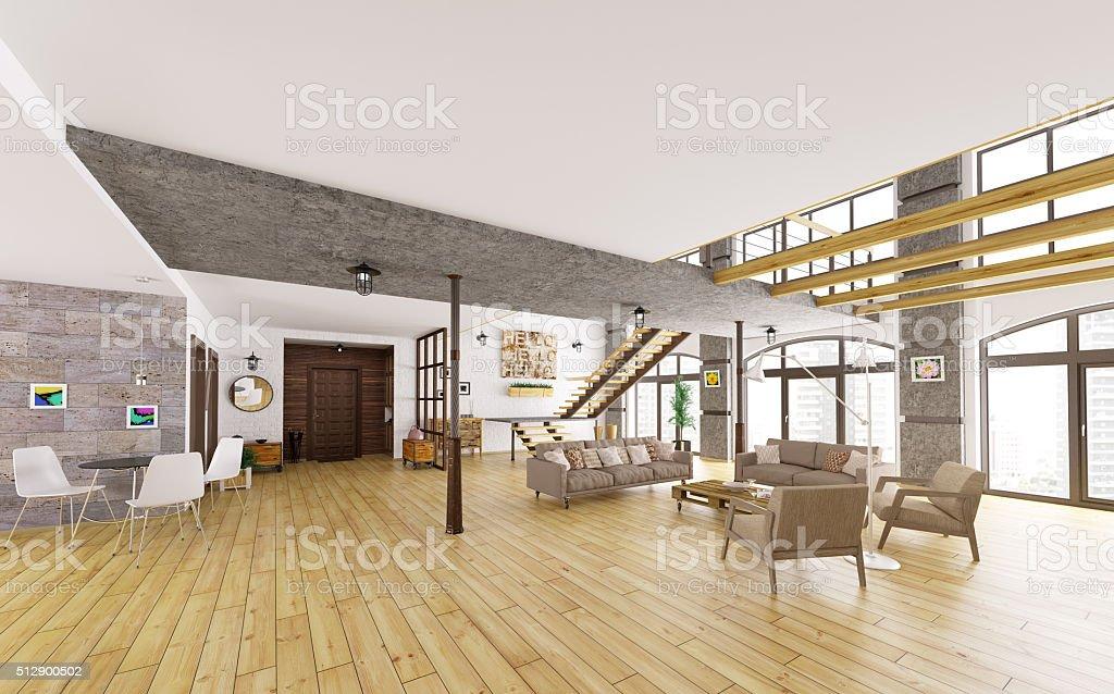 Moderne loftwohnung innenraum d render stock fotografie und mehr