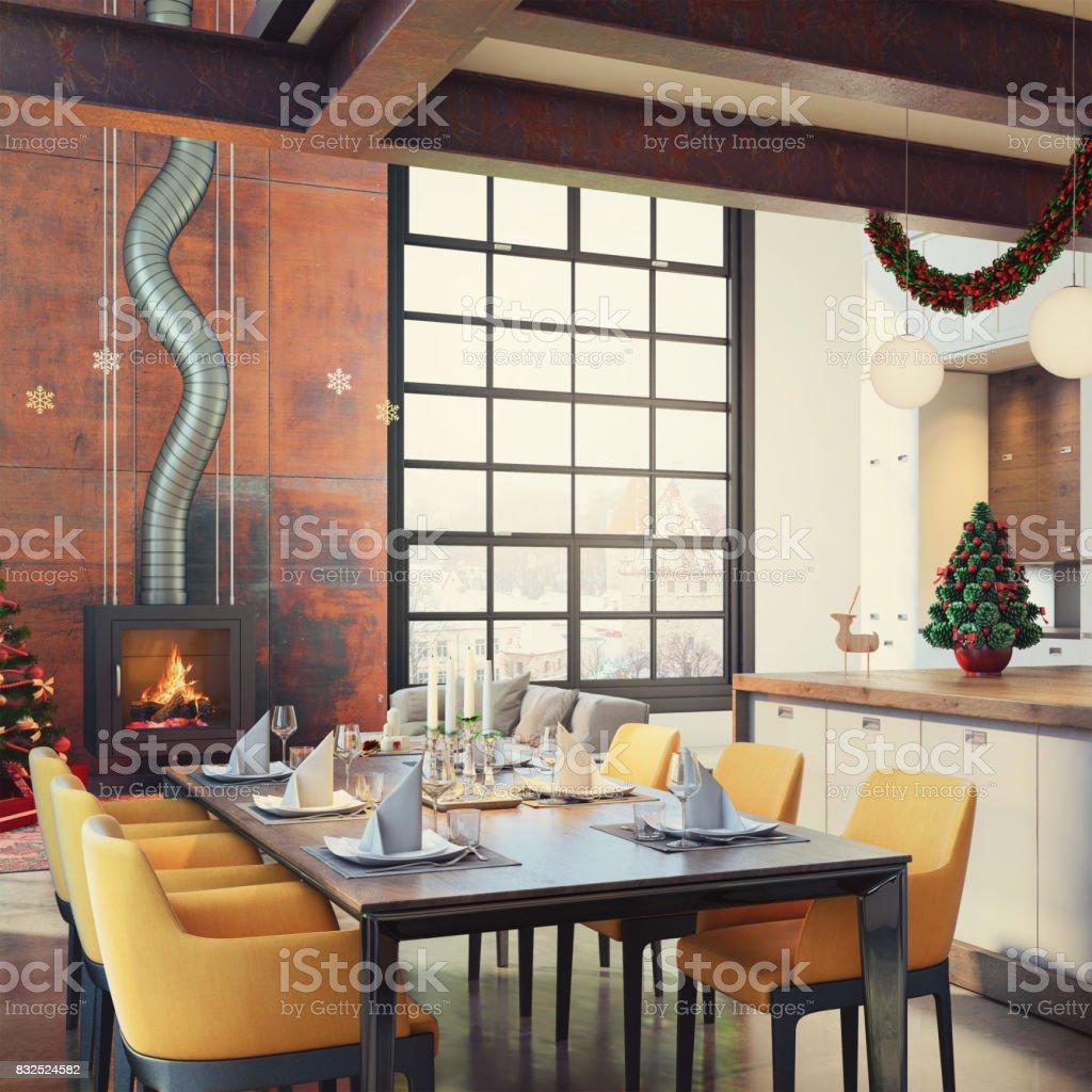 Loft Moderne Appartement Salle à Manger Et Cuisine Salle Intérieure Avec  Décoration De Noël Photo Libre