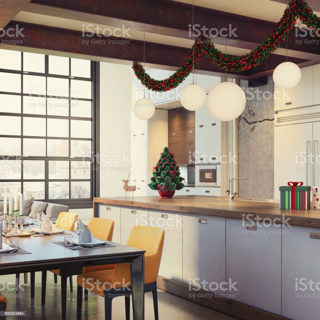 Modern Loft Apartment Interior Dining And Kitchen Room With Christmas Decoration Stock Photo Download Image Now Istock
