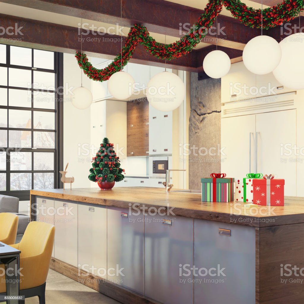 Modern Loft Apartment Interior Dining And Kitchen Room With ...