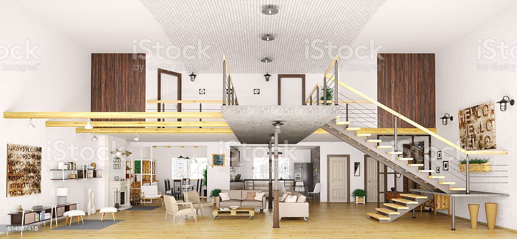 Modern loft apartment interior in cut 3d render stock photo