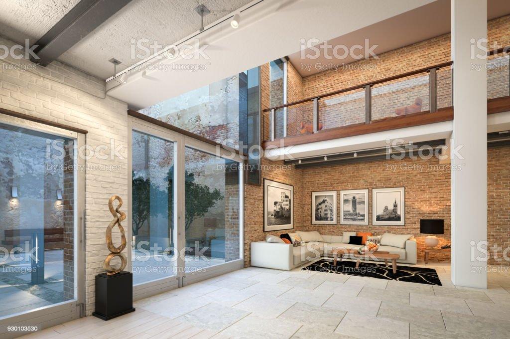 Moderne loftwohnunginterieur stock fotografie und mehr bilder von