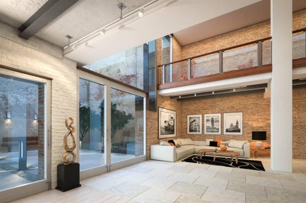 moderne loft-wohnung-interieur - große wohnzimmer stock-fotos und bilder