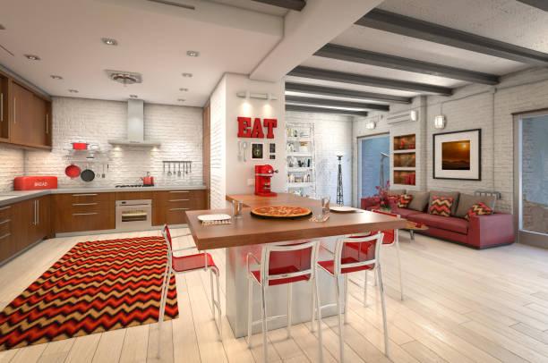 moderne loft-wohnung-interieur - roten küchentische stock-fotos und bilder