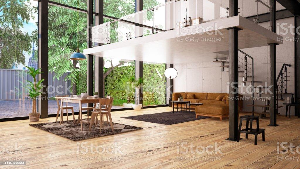 Moderne Loftwohnung Mit Mezzanine Stockfoto und mehr Bilder von ...