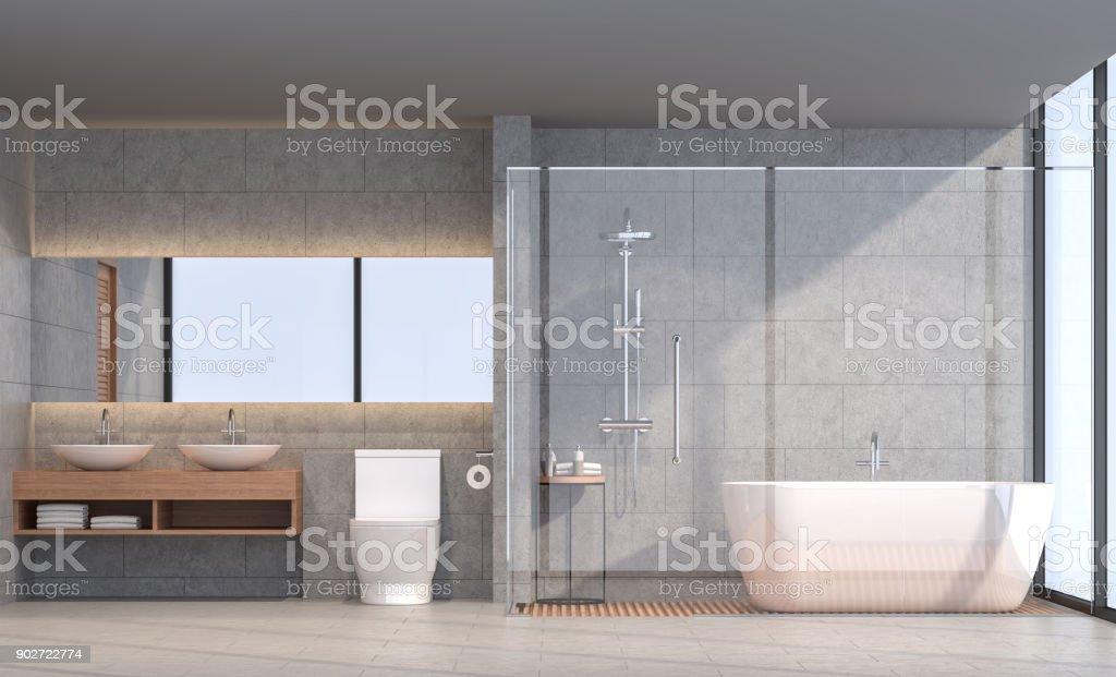 Modern loft bathroom 3d rendering image stock photo