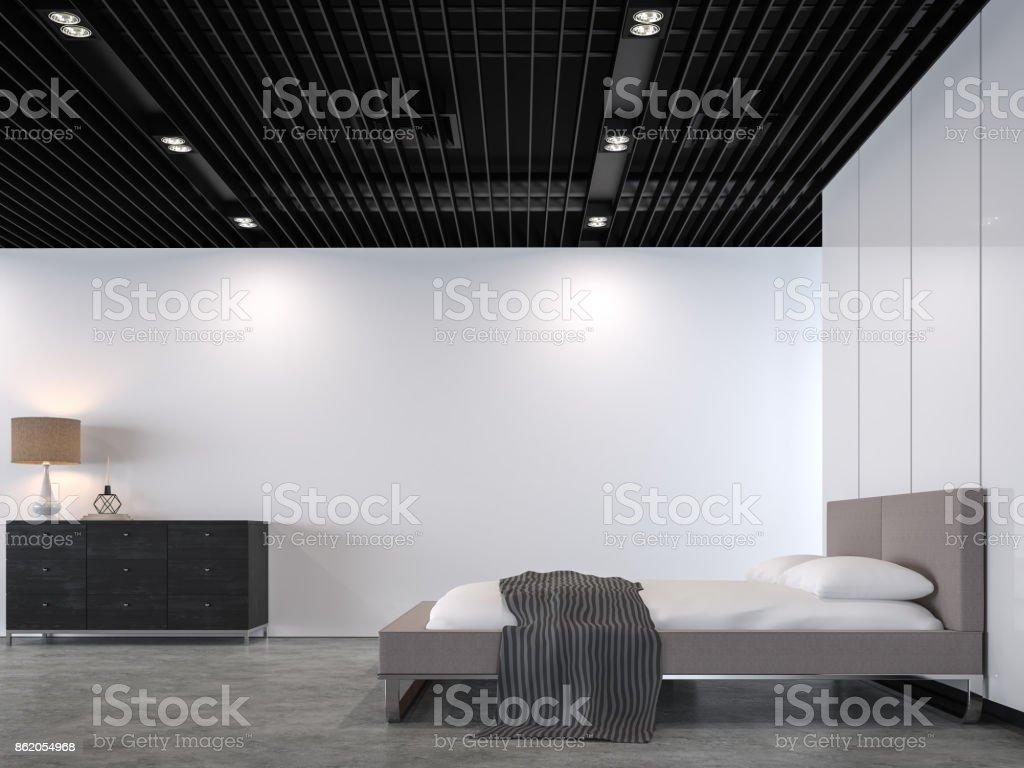 chambre loft moderne avec limage de rendu 3d de plafond en acier