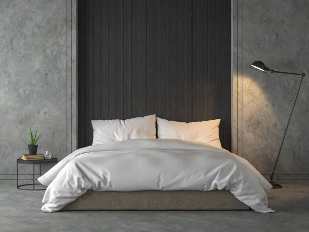 Modernes Loft-Schlafzimmer mit schwarzem Holzplank 3d render – Foto