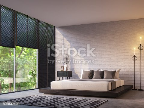 istock Modern loft bedroom with nature view 3d rendering image 696532402