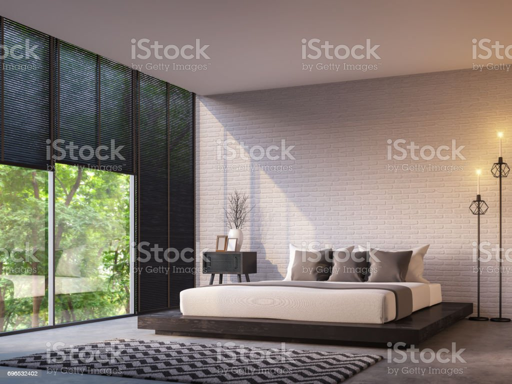 Modern loft bedroom with nature view 3d rendering image stock photo