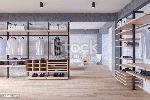 Kleedkamer In Slaapkamer : Moderne loft kleedkamer en slaapkamer interieur concept wandelin