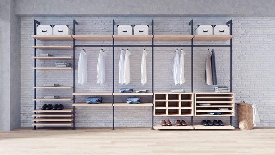 istock Modern loft dressing room  interior concept, walk- in closet,wood wardrobe on white brick wall and woodfloor,3d rendering 933373502