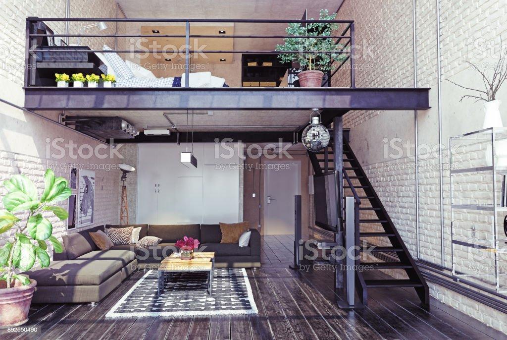 Moderne loft interieur stockfoto en meer beelden van appartement