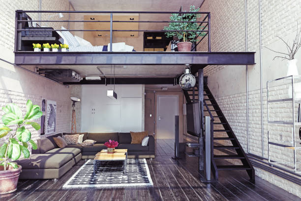 modern loft interior design. - loft apartment stock pictures, royalty-free photos & images