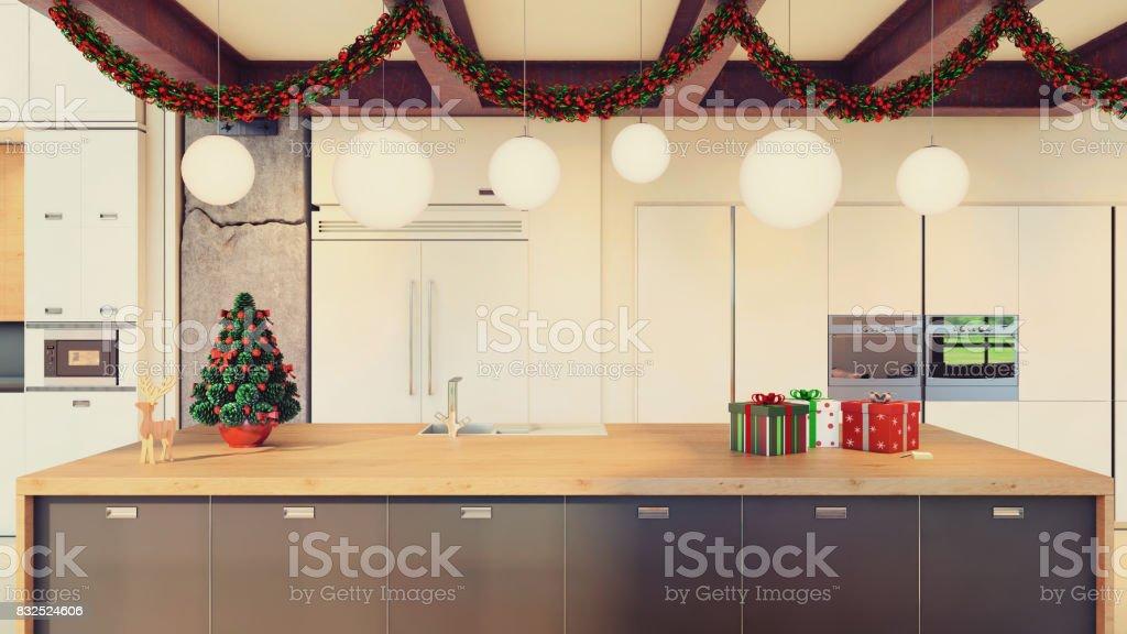 Modernes Loft Interior Küche Mit Weihnachtsdekoration ...