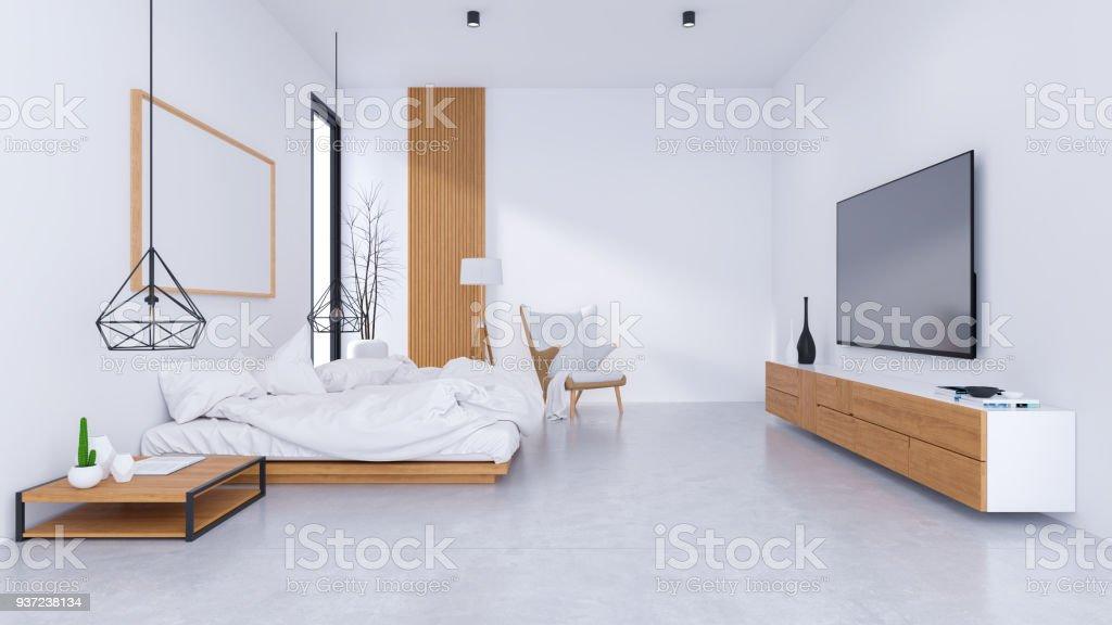 Modernes Loftinterieur Des Schlafzimmer Design Und Gemütlichen Stil ...