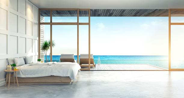moderne loft interieur van slaapkamer villa, zomer, strand lounge, hostel homestay, 3d-rendering - sleeping illustration stockfoto's en -beelden
