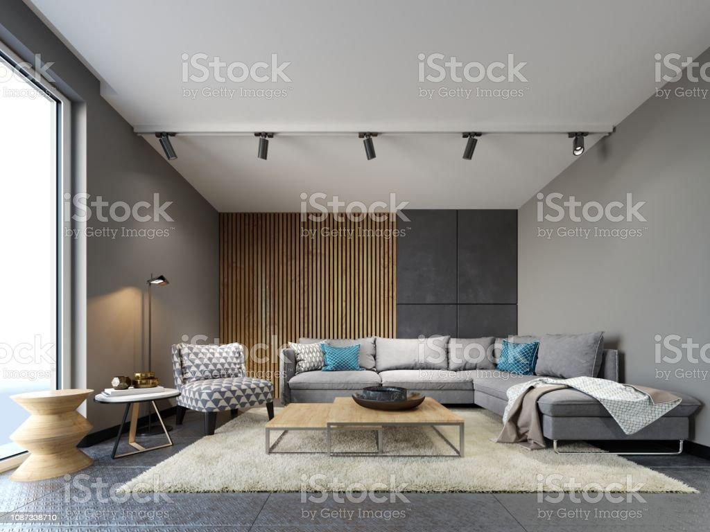 Modern Loft Interior Of Living Room Grey Sofa And Colorful