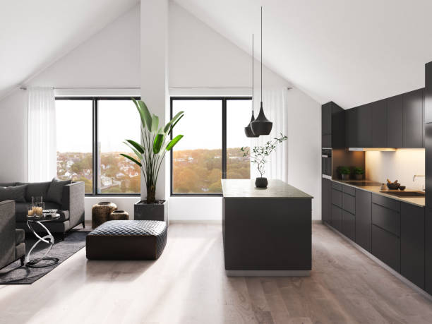 modern loft interior - nelleg stock photos and pictures