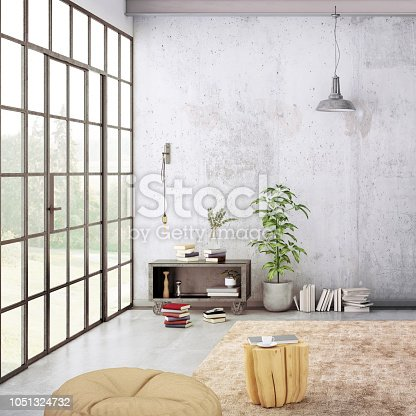 Modern interior, with shelf, vase with a plant, lamps, and many details around. Many books and decoration, wall is rich in texture. Copy space background template render