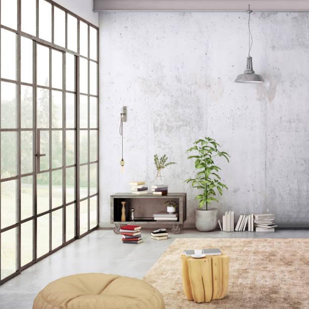 moderne loft-interieur mit leere wand für textfreiraum - shabby deko stock-fotos und bilder