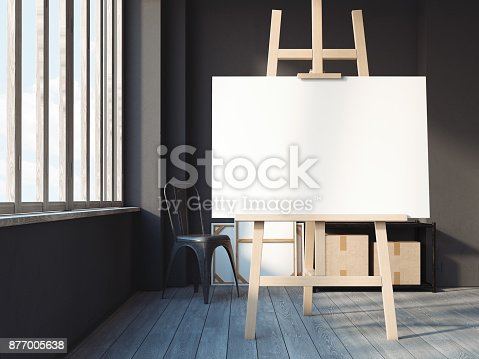 istock Modern loft interior with easel. 3d rendering 877005638