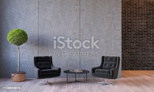 Modern loft interior with furniture lounge chairs, plant, table, architecture concrete cement wall panels, brick wall, concrete floor. Empty room, blank wall. 3d render illustration mockup