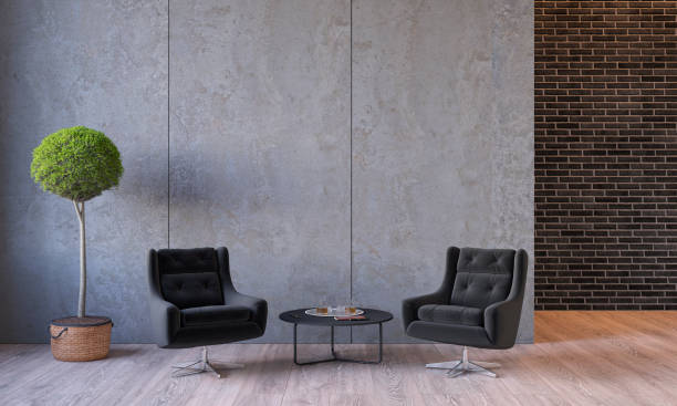 modern loft interior with furniture lounge chairs, plant, table, architecture concrete cement wall panels - lobby foto e immagini stock