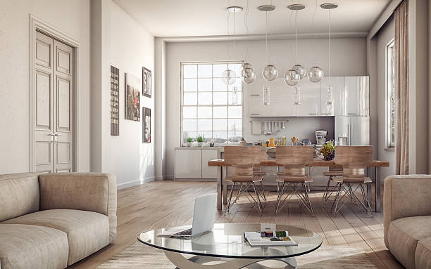 modern loft interiors - home interior stock photos and pictures