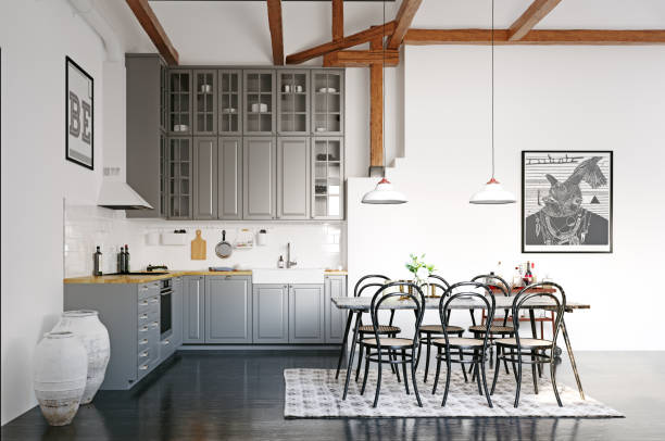 modern loft kitchen interior design. stock photo