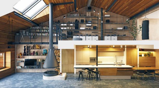 modernes loft wohnzimmer interieur. - rustikale mode stock-fotos und bilder