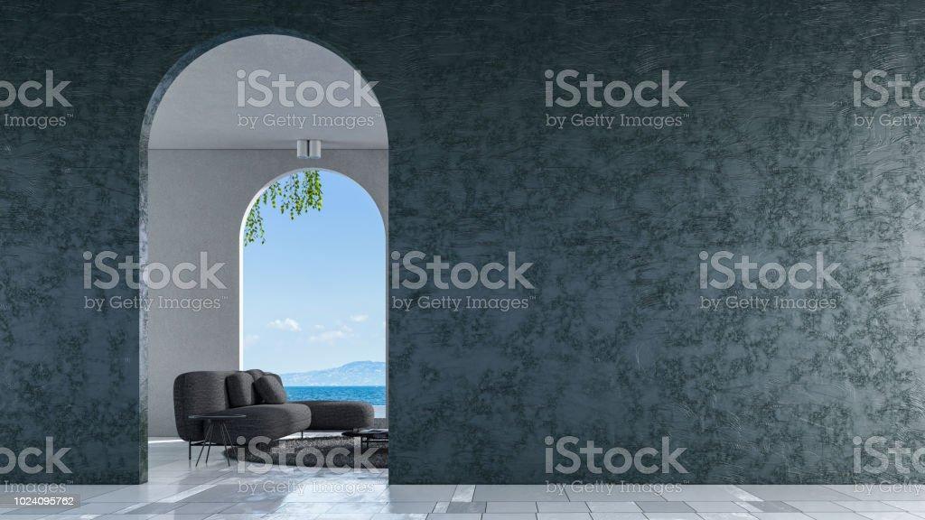 Moderne loft woonkamer zee uitzicht drendering stockfoto en meer