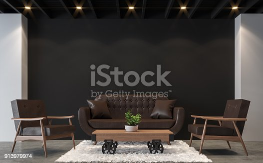 902720222istockphoto Modern loft living room with black and white 3d rendering image. 913979974