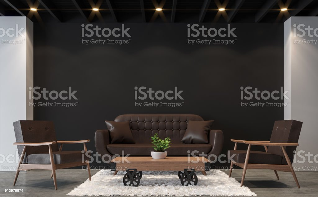Modern loft living room with black and white 3d rendering image. stock photo