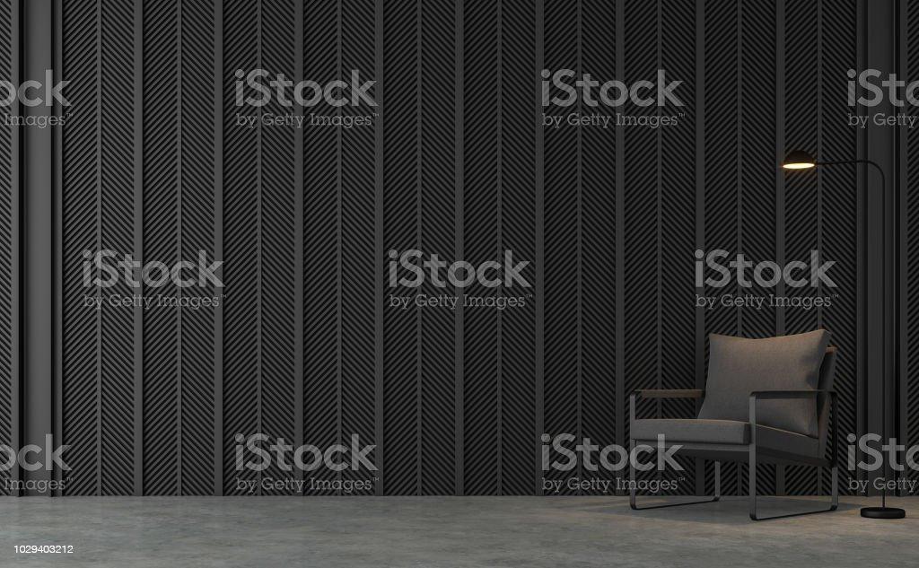 Loft moderne salon avec rendu 3d de lamelles en acier noir - Photo de A la mode libre de droits