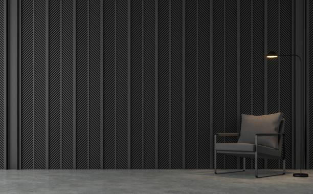 loft moderne salon avec rendu 3d de lamelles en acier noir - architecture intérieure beton photos et images de collection